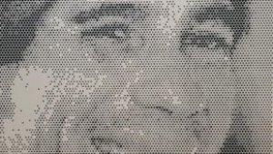 Printen van portret Ayrton Senna door middel van pixel print op aluminium plaat